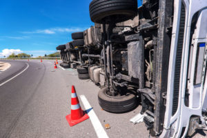 Truck accident rollover, Spring, TX.
